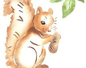 Squirrel, vintage stencil painted on new dish towel