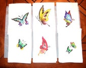 Butterfly Napkin Set, 6 new napkins stenciled from vintage stencils