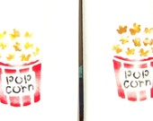 Popcorn towel set, two new towels painted with a stencil