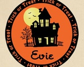 Personalized Halloween Haunted House Trick or Treat Tote Bag - Personalized with ANY Name
