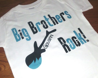 Big Brothers Rock Guitar Shirt or Bodysuit - Personalized with your child's name