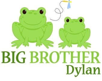 Adorable Personalized Frog Big Brother Tshirt or Bodysuit - Personalized with ANY name