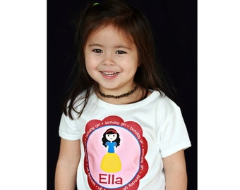 Snow White Princess Personalized Birthday Girl Shirt or Bodysuit - Personalized with ANY name