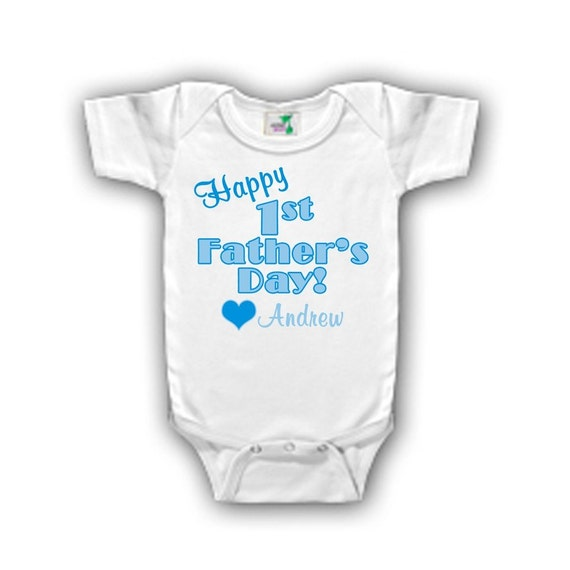 Personalized Happy First Father's Day Bodysuit for a boy - Personalized with ANY name