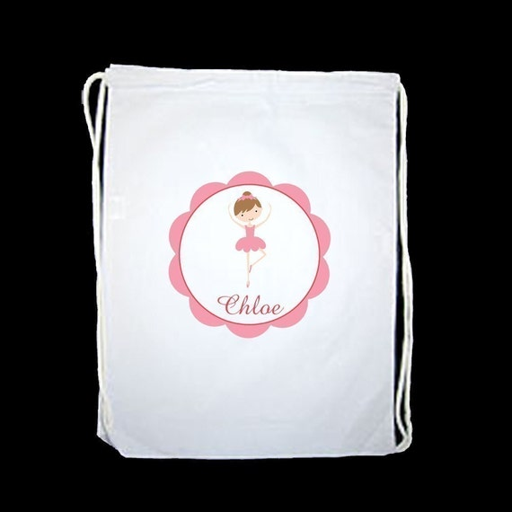 Adorable Personalized Ballerina Drawstring Sports Bag - personalized with any name and to look like your child