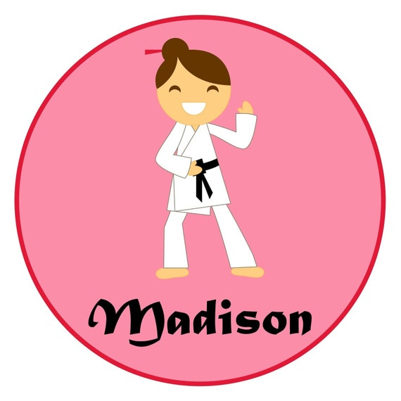Adorable Personalized Karate Martial Arts Girl Bodysuit or Shirt - personalized with any name and to look like your child