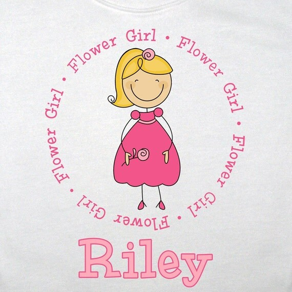 Personalized Flower Girl Shirt - Customized with ANY Name and to look like your flower girl - you choose the hair, skin, & dress color