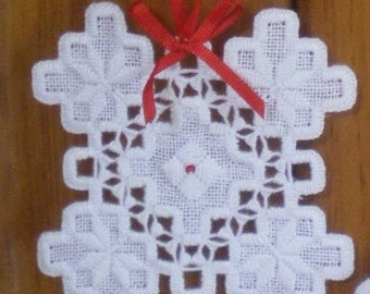 "Hardanger Holiday Ornament  -   ""Snowflake 2"""