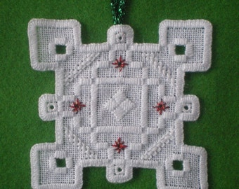 "Hardanger Holiday Ornament  -   ""Snowflake"""