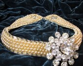 Starlight - Vintage Pearl and Rhinestone Hollywood Starlet Choker Necklace