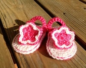 Crocheted Baby Flip Flops with flower- you pick colors