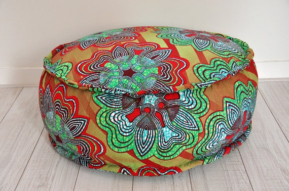 Big comfortable pouf with African print