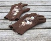 Nutty brown felted gloves with silk flowers --- Handmade to order - aureliaLT