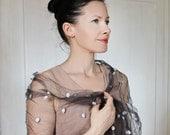 Hand dyed charcoal silk scarf grey shawl polka dot