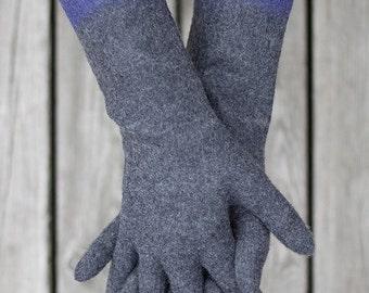 Felted gloves long grey gloves winter mittens purpple color block gloves Christmas gift seamless gloves organic gloves - Handmade to order