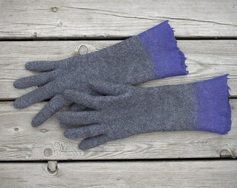 Felted gloves long grey gloves winter mittens purpple color block gloves Christmas gift seamless gloves organic gloves - Handmade to order