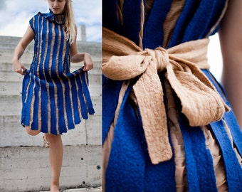 ON SALE Blue felted unique dress, beige silk wedding dress with nude belt, royal blue stripped dress for women, birthday gift