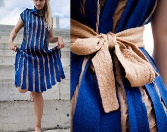 ON SALE Blue felted dress beige silk wedding dress with nude belt royal blue stripped dress women dress Christmas gift - ready to ship