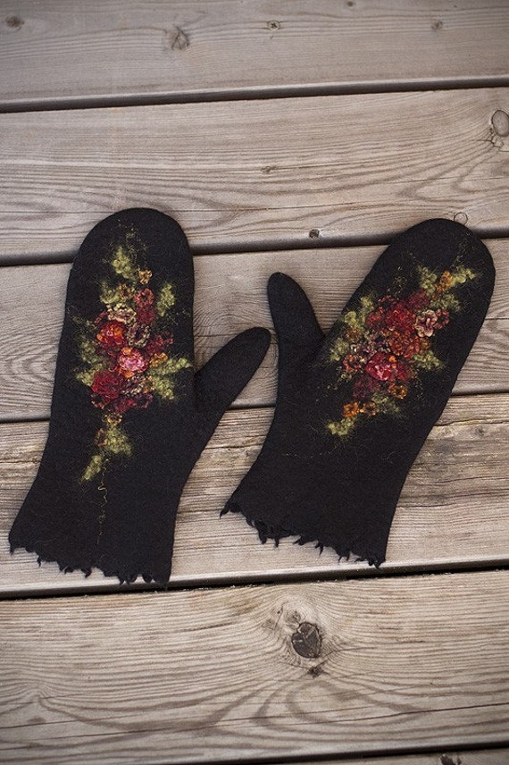 Felted black mittens with flowers merino wool mittens red rose silk wool women gloves Russia style winter gift arm warmers Christmas gift