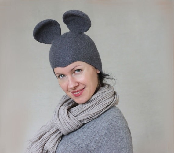 Mouse hat gray wool felted cloche merino wool hat seamless animal cap women hat winter hat mouse ears Christmas gift  - handmade to order