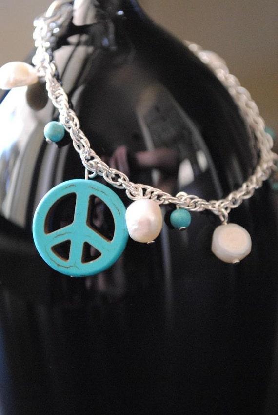 Peace & Pearls Bracelet