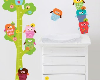 Owls Tree Wall Decals Height Chart Fabric Wall Stickers (not vinyl), Large