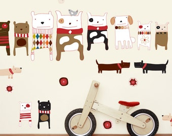 Wall Decals Dogs Fabric Wall Stickers (not vinyl) - Large