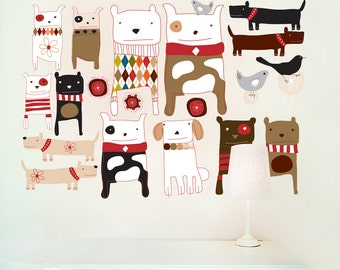 Kids Wall Decals 'Dogs', Fabric Wall Decals (not vinyl) - Medium
