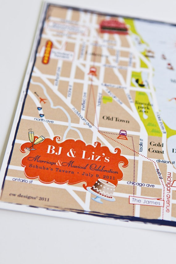 CustomWedding Map Infographic & Initerary - Chicago, IL (choose your city/location)