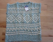 Cream and mint pullover vest, popcorn-Large
