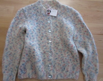 Blue, burgundy and cream mohair button down sweater