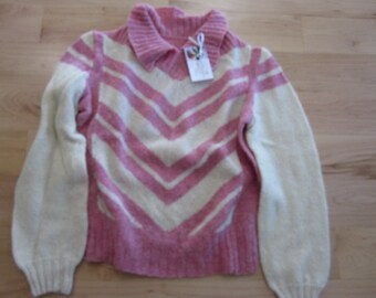 Pink and Cream Mohair wool blend Pullover sweater with collar