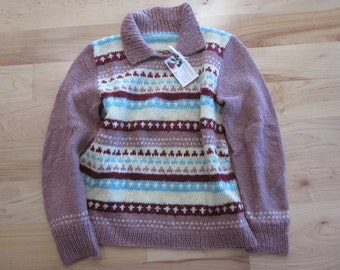 Multi color-Pullover sweater with collar-blue, burgundy, pink and cream