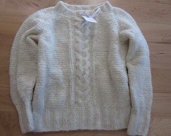 White wool pullover sweater with cables