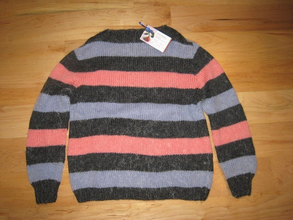 Hand-knit sweater-Vintage 60's Mohair striped pullover