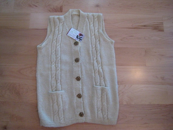 Hand -knit sweater-Cable, V neck, button down vest, pockets and brass buttons