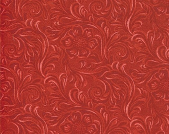 TOOLED LEATHER 3 yds cherry red cotton quilt fabric Moda King of the Ranch Texas Americana western cowboys 3 full yards 11216-22