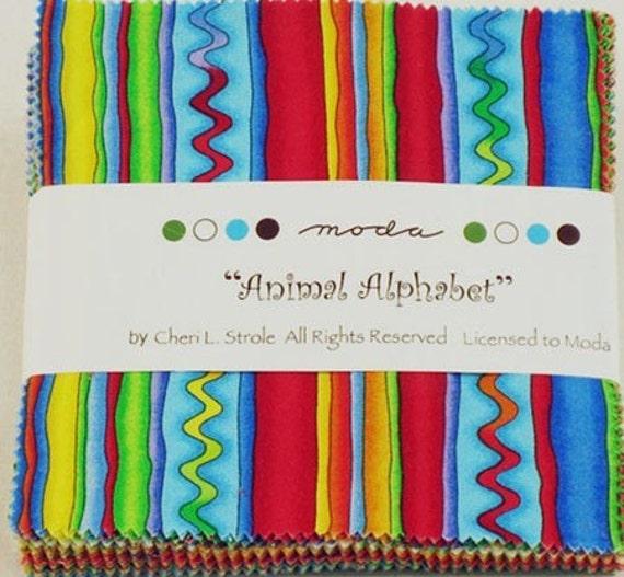 ANIMAL ALPHABET (3) charm packs LAST SET CHERI STROLE Moda quilt fabric PRIMARY BRIGHTS