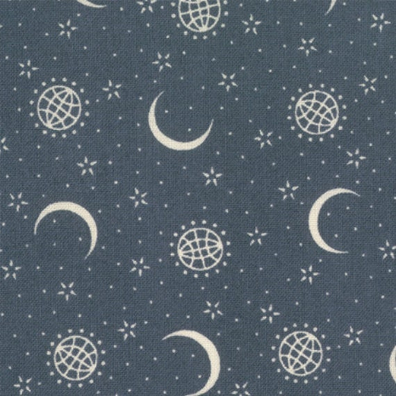 Moon stars navy modern quilting fabric moda primitive for Moon and stars fabric