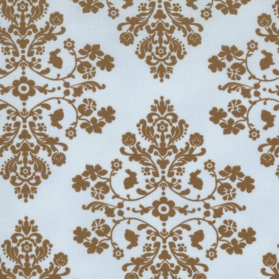 Lily & Will mocha brown blue damask shabby quilting fabric Bunny Hill Designs baby nursery 3/4 yard Last piece 2802-20