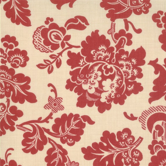 LUMIERE de NOEL French General Moda shabby quilt fabric Kaari Meng turkey red reproduction floral 1/2 yard 13540-15