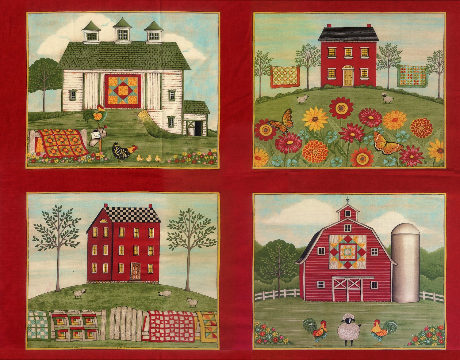 Coming Home Panel Moda Quilt Fabric Barn Farm Rooster