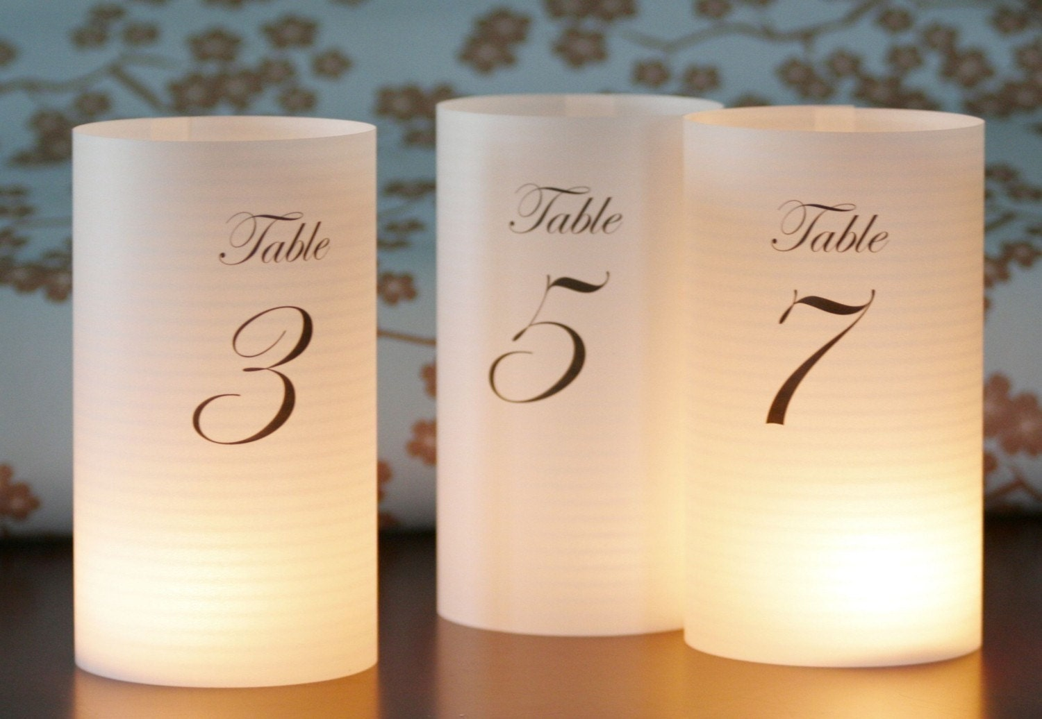 Luminary table numbers or centerpiece includes 1 15 8 5 for Table numbers