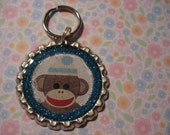 Blue Boy Sock Monkey Pet ID Tag - Free Shipping to US