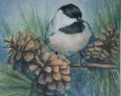 "Giclee Print of Original Bird Watercolor Painting, Chickadee 1 - 4"" x 4"""
