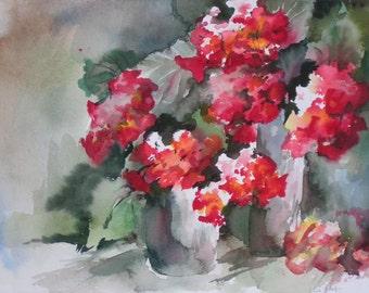 Geraniums in watercolor - Original, 11 x 14