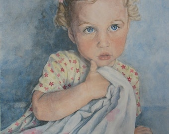 CUSTOM portrait painting in watercolor personalized from your photo - 8 x 10 - order now for christmas