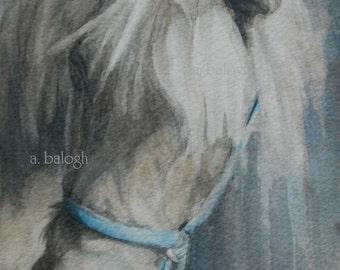 """Pony painting, Giclee Print of original watercolor horse painting """"Old pony"""" - 5"""" x 7"""""""