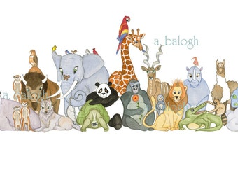 """Kid art - Zoo Watercolor Giclee Print for child's room.....11"""" x 14"""""""