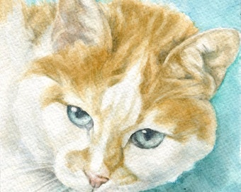 """Custom Portrait Commissioned pet or person portrait in watercolor from photo -6"""" x 6"""""""